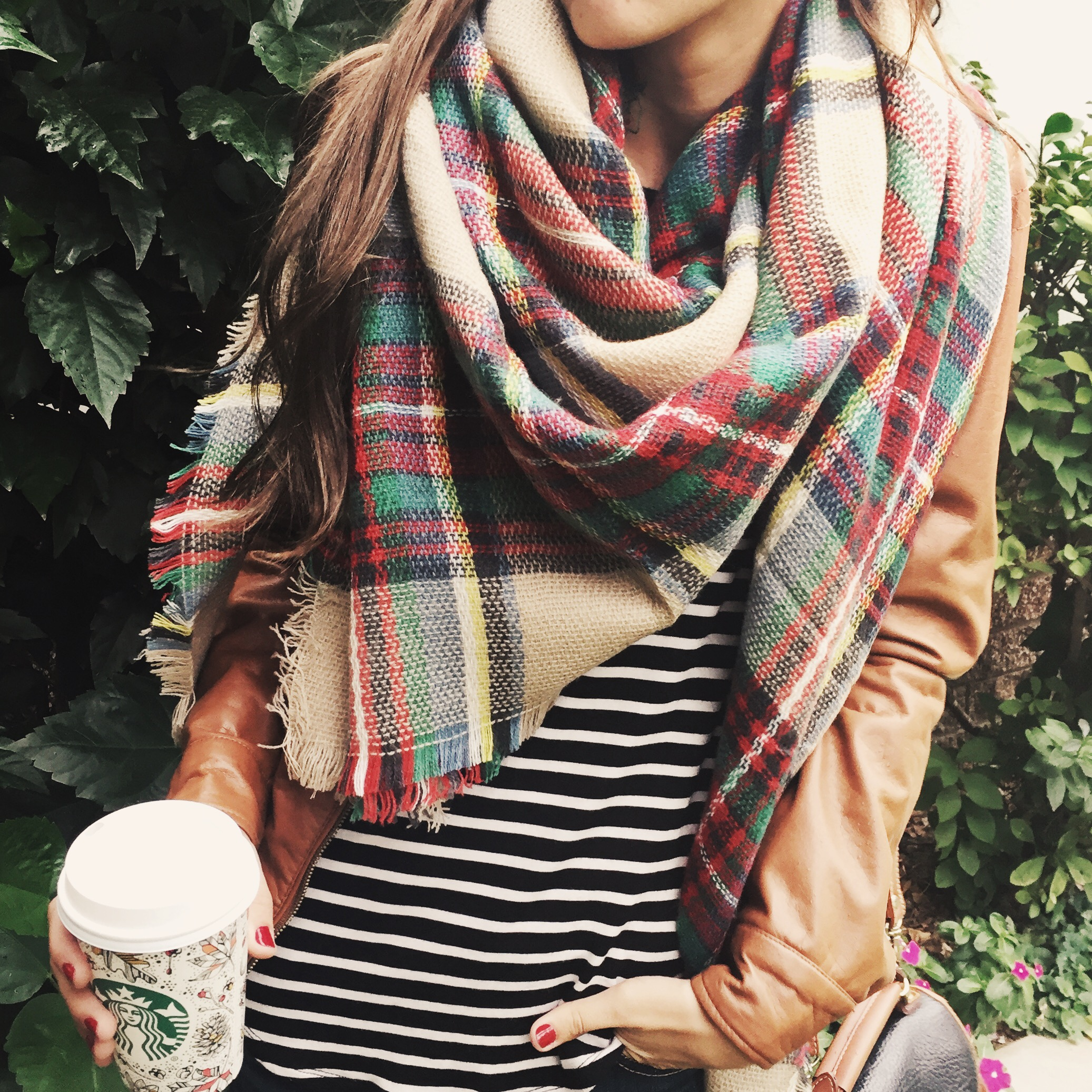 Moo's Musing Brown Leather Jacket with Plaid Blanket Scarf
