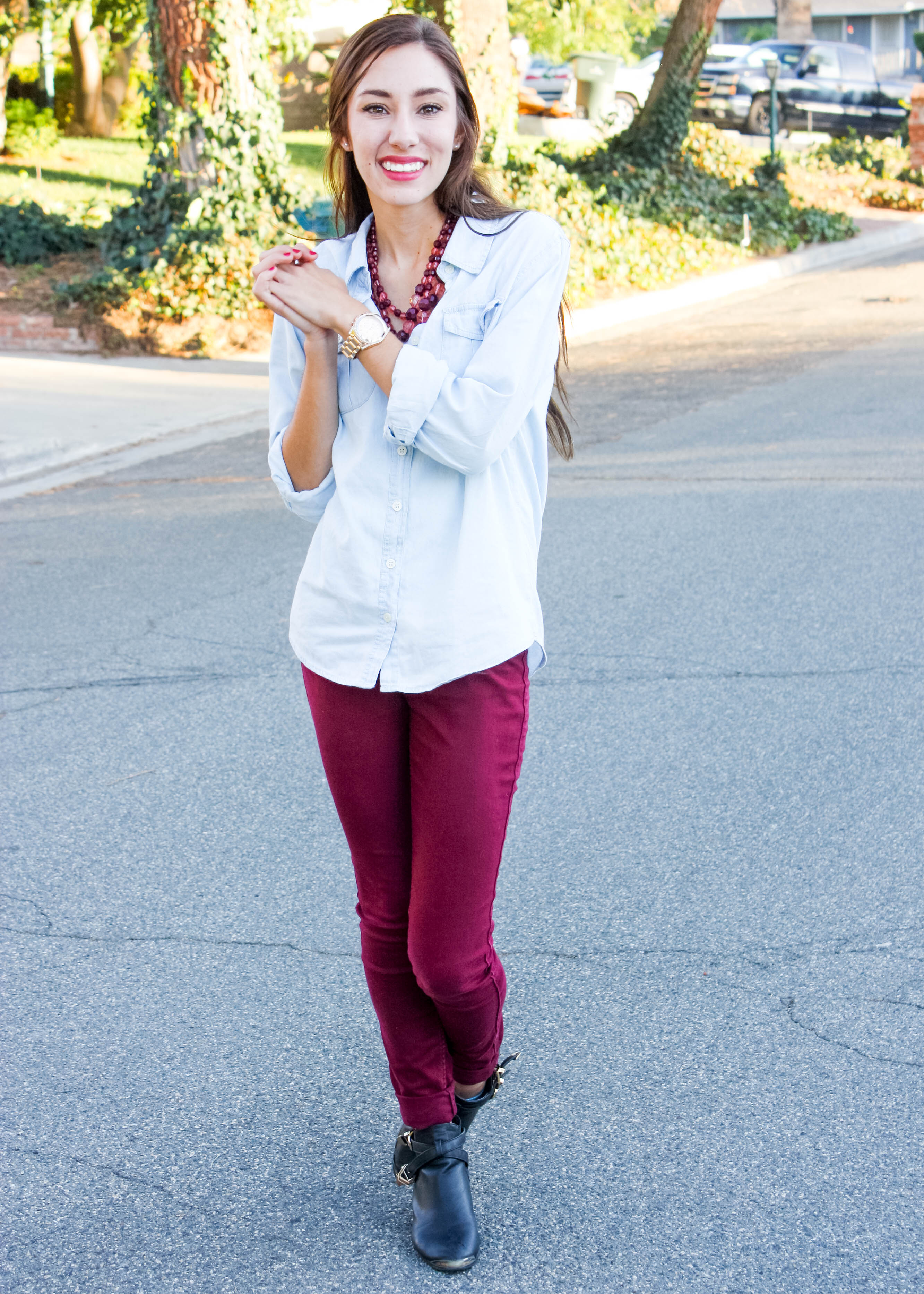Moo's Musing Burgundy Pants and Chambray Outfit