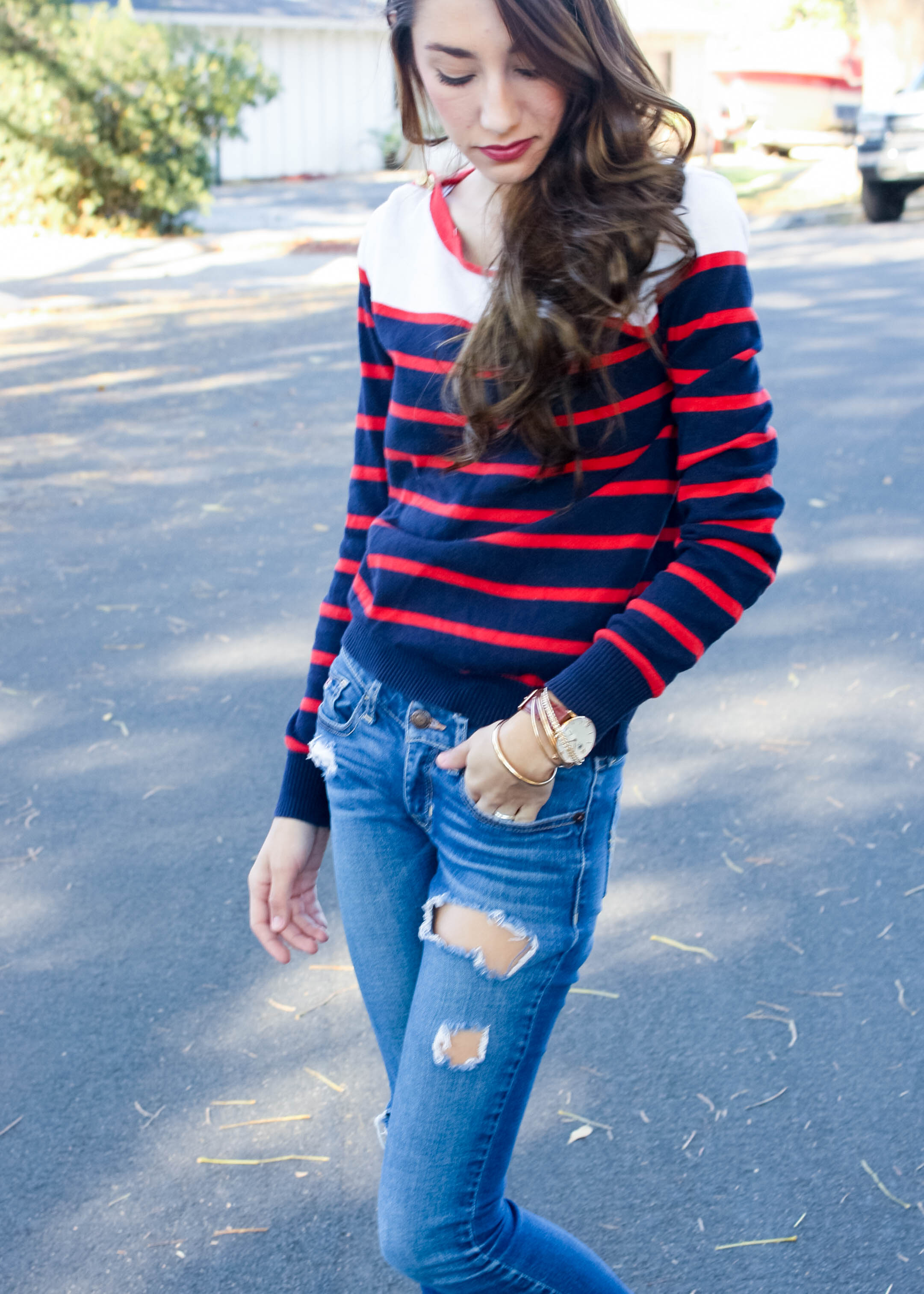 Navy and Red Striped Sweater Outfit