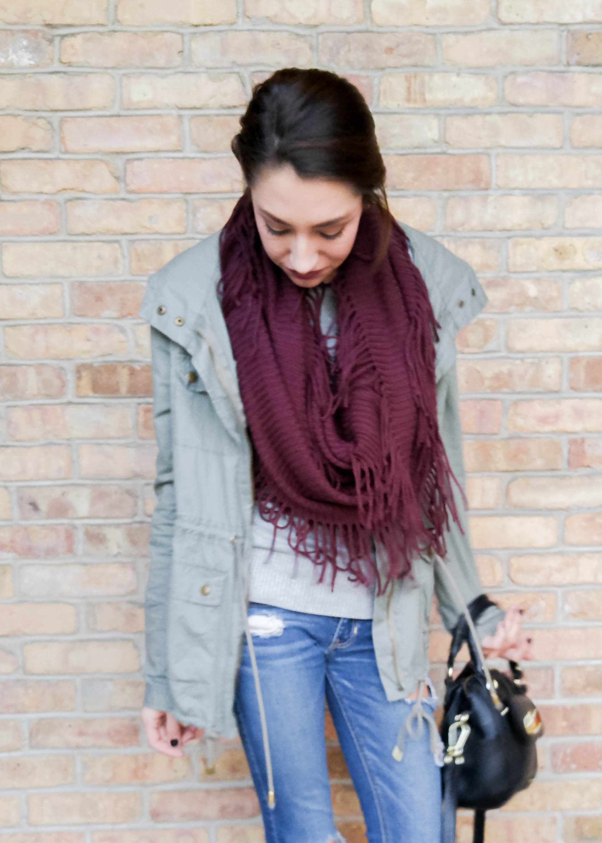 Plum Fringe Scarf Outfit