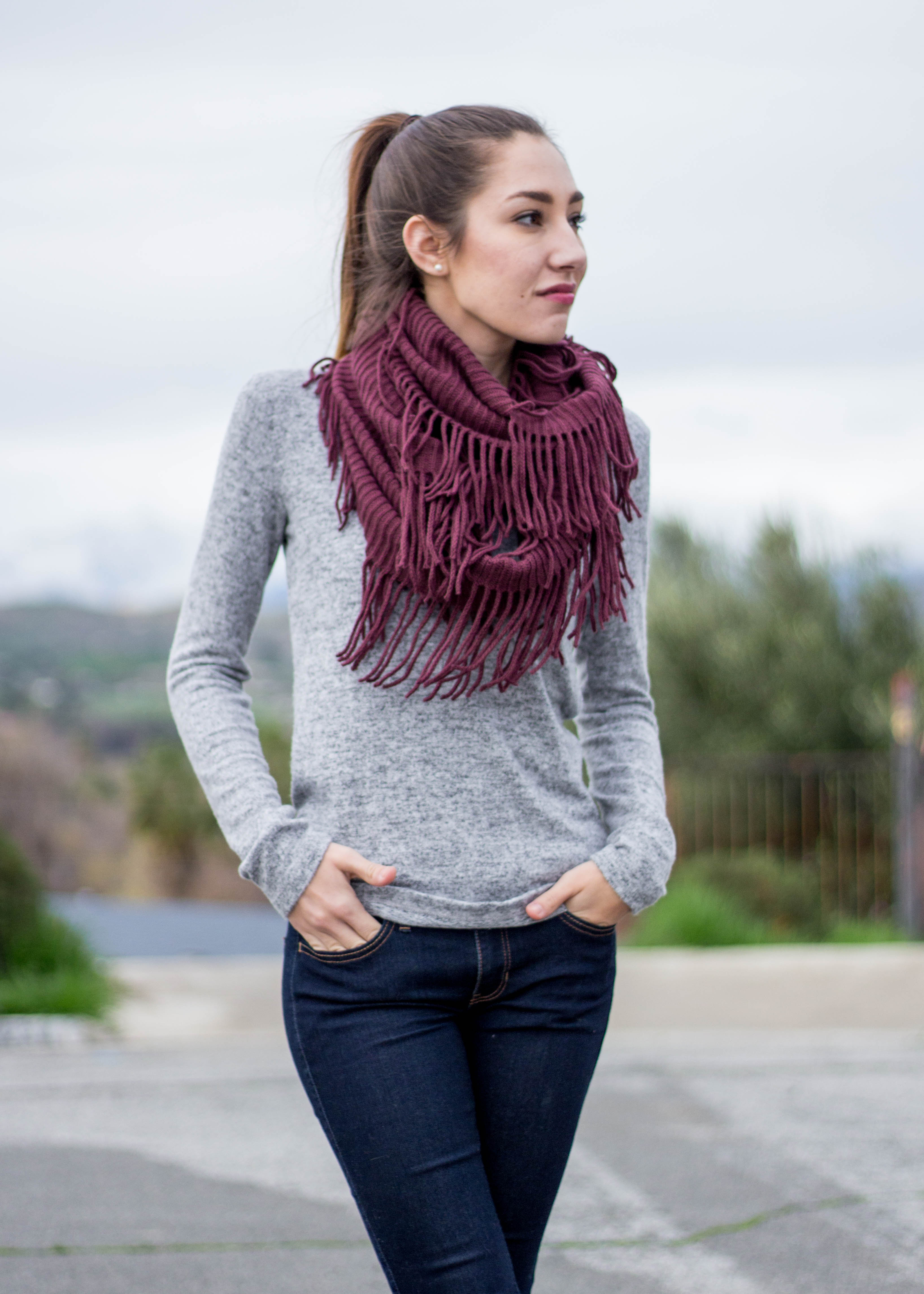 Sweater with Plum Scarf