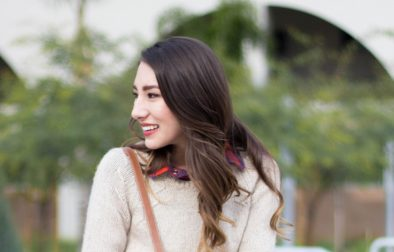 Sweater over plaid button up