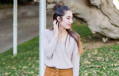 old navy brown sweater and skirt