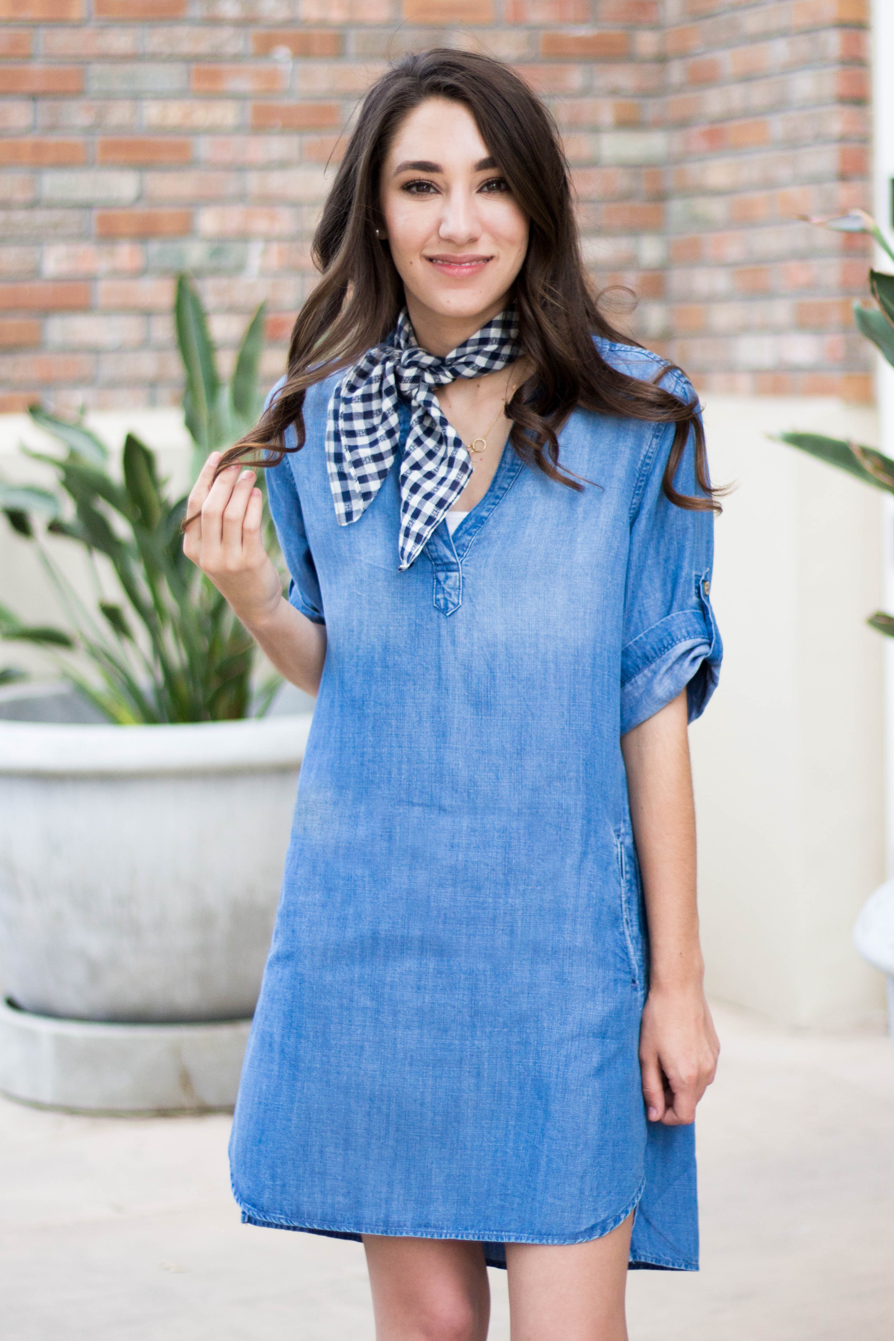 neck scarf and dress outfit