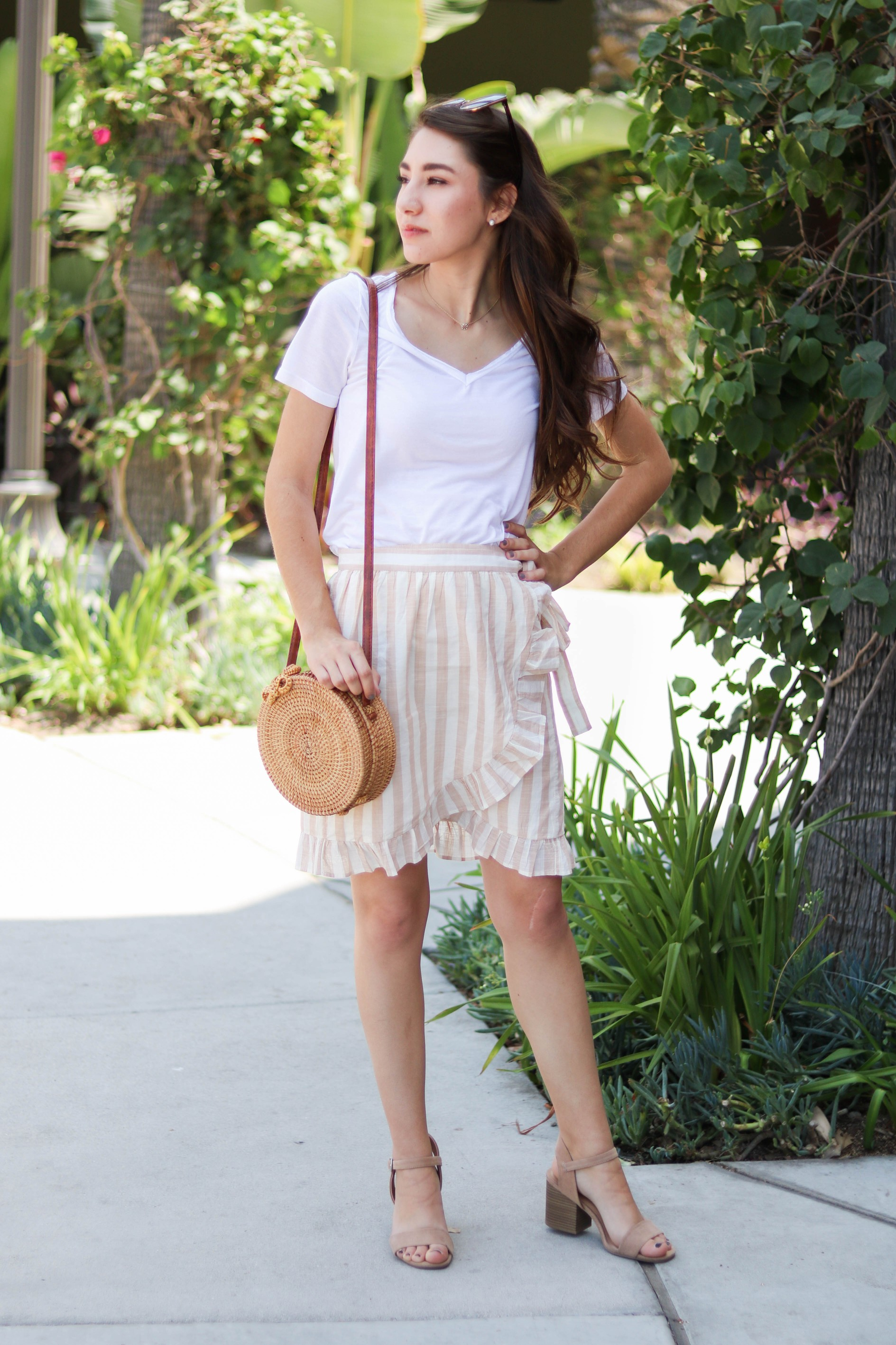 wrap skirt outfit summer spring