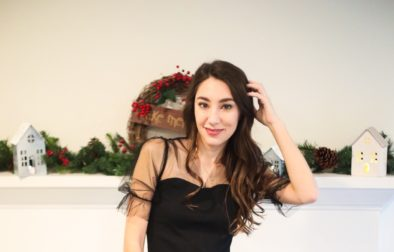 mesh trim holiday outfit