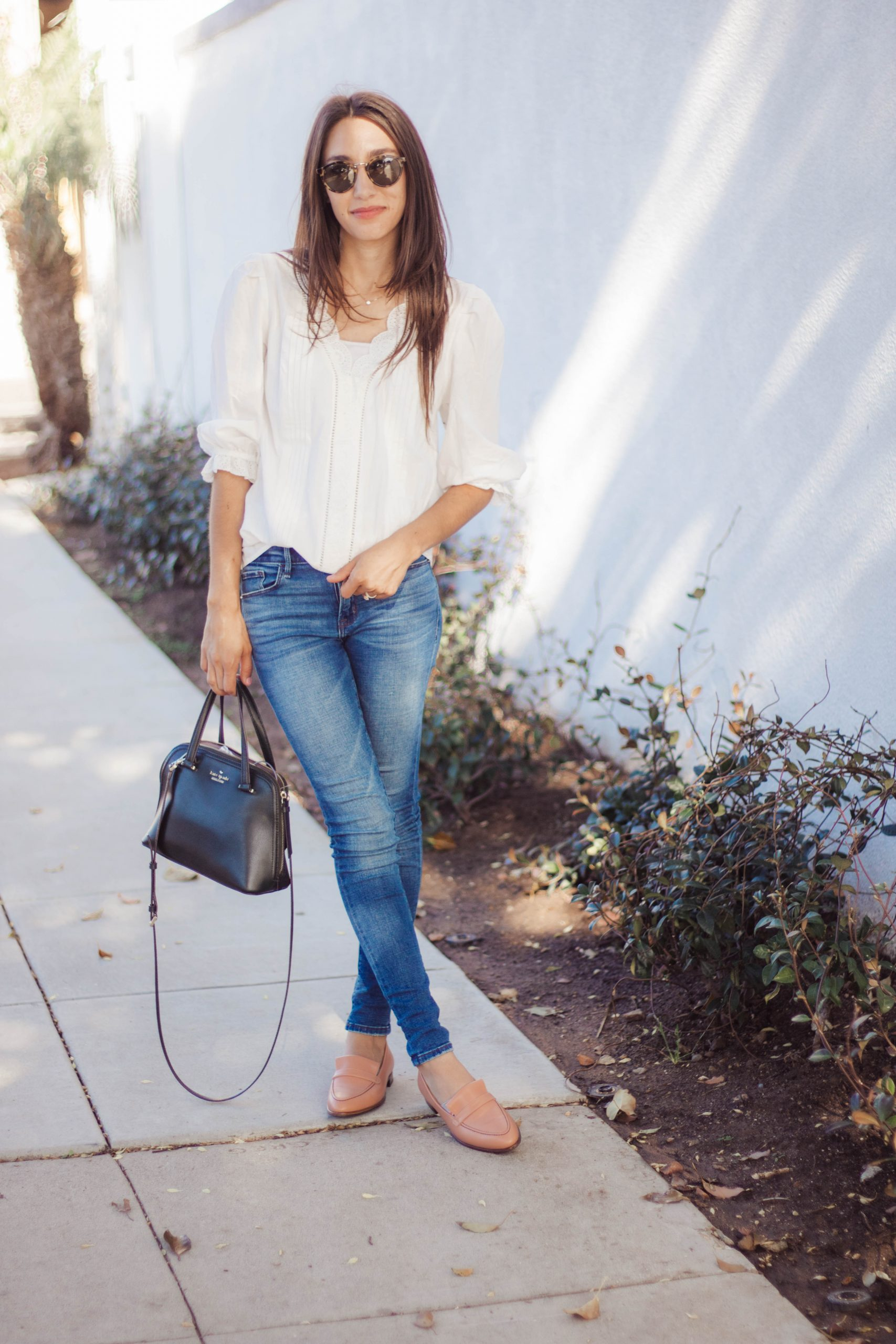classic white button up and jeans