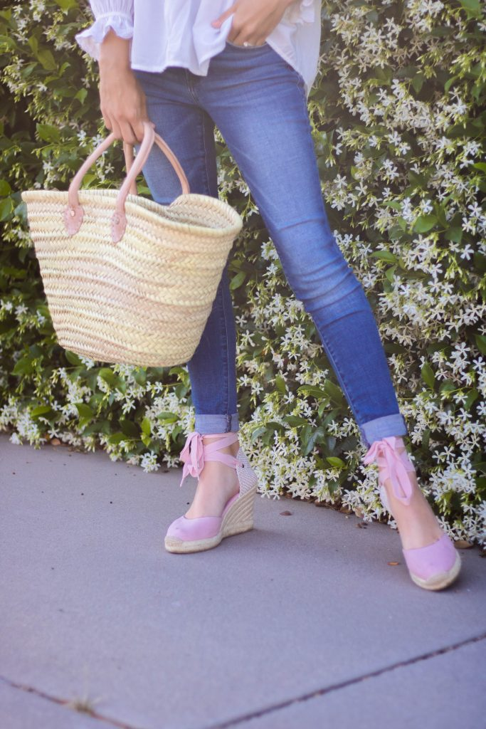 espadrilles and woven tote